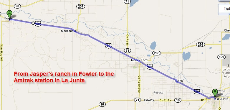 Fowler to the Amtrak station in La Junta