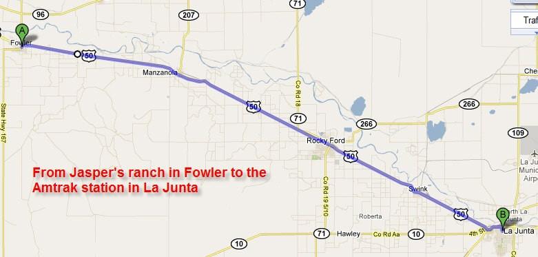 Fowler to the Amtrak station in La Junta