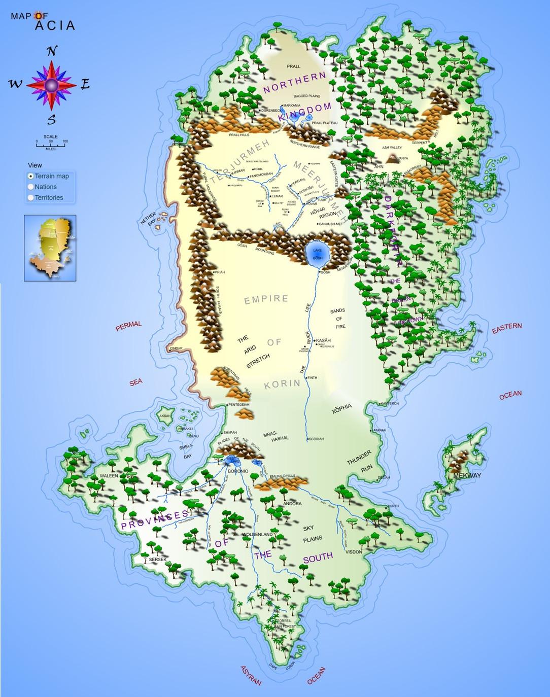 Map of Acia - Terrain