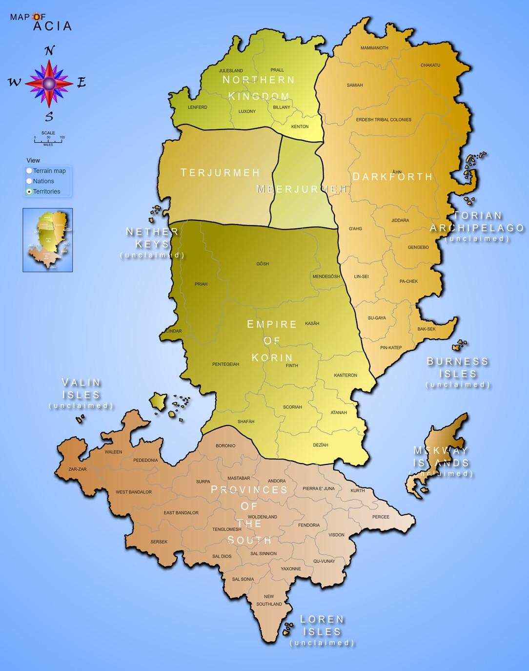 Map of Acia - Territories