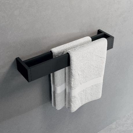 Novellini Frame dvigubas rankšluosčių laikiklis, juodas matinis