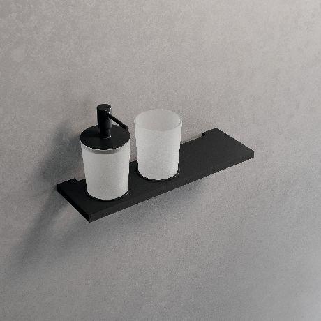 Novellini Frame lentynėlė su muilo dozatoriumi ir stikline, juoda matinė