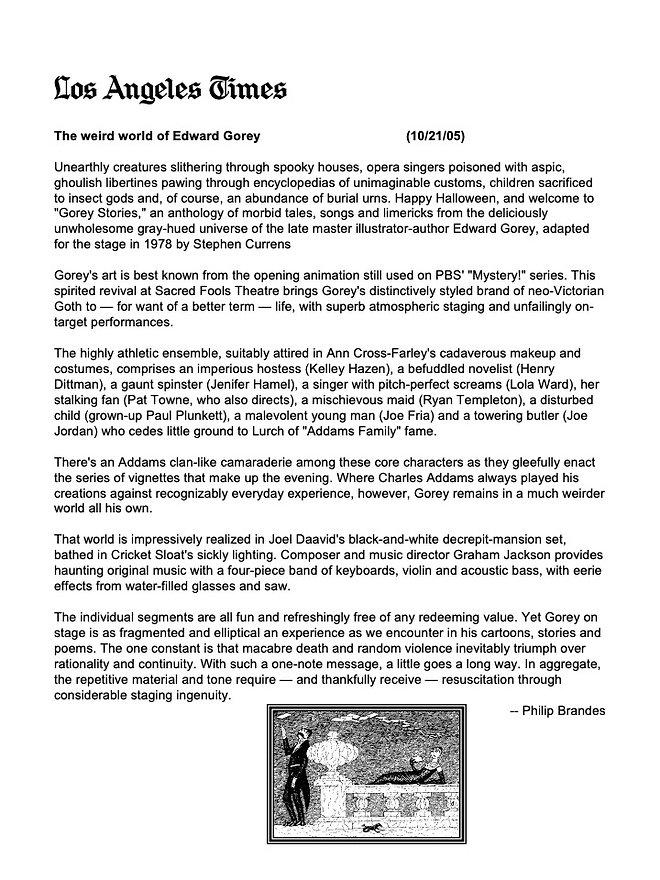 Gorey Stories LA TIMES review