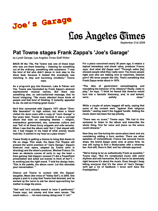 Los Angeles Times interview with Pat Towne