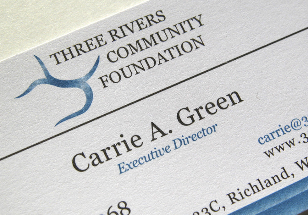 Three Rivers Community Foundation Logo and Business Cards