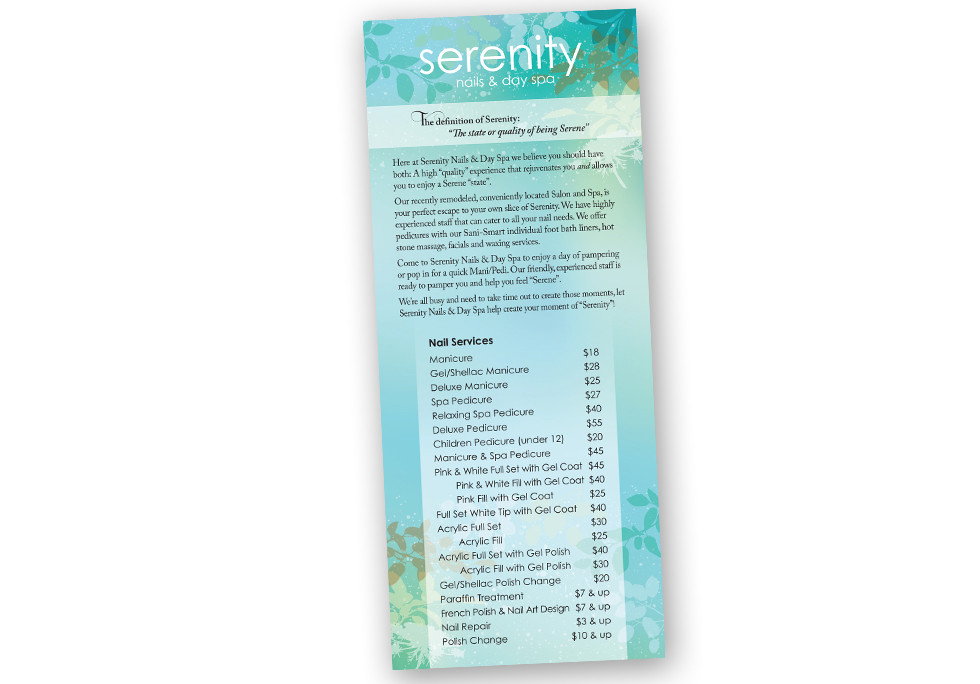 Serenity Nails & Day Spa Price Card
