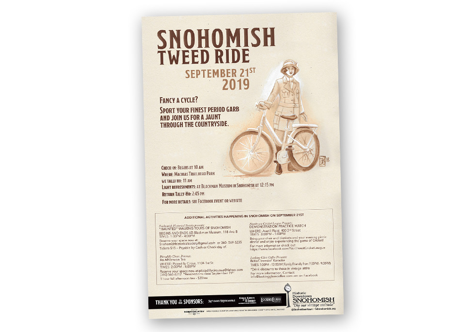 Historic Downtown Snohomish Association Tweed Ride Poster