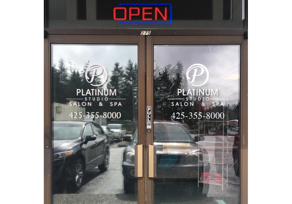 Platinum Studio Salon Vinyl Signage