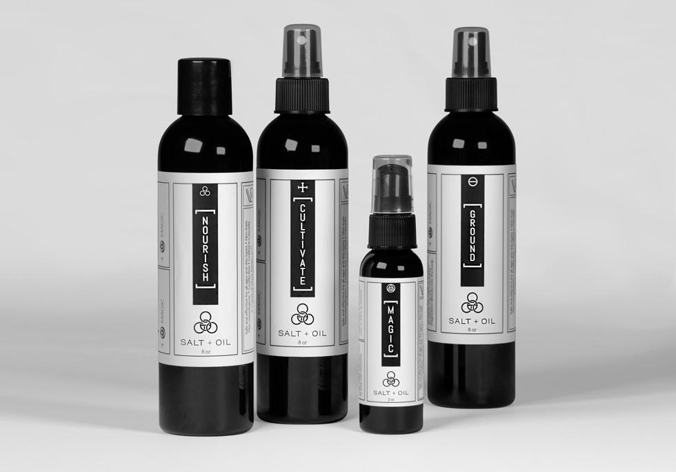 Salt+Oil logo design and product labels