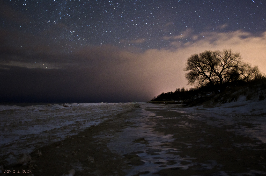 Lake Michigan Winter Night