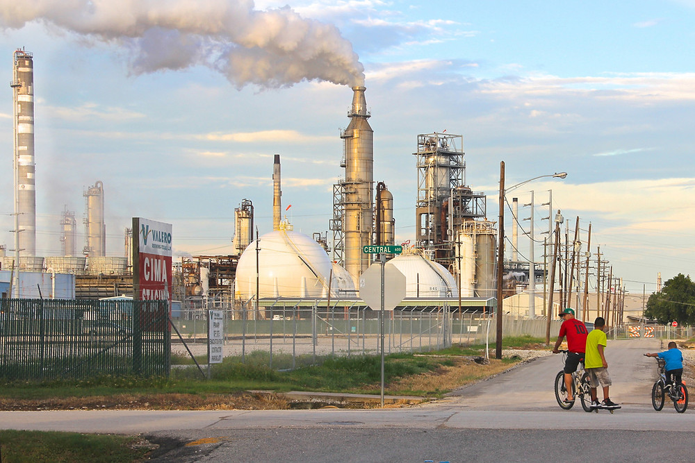 oil refinery children playing