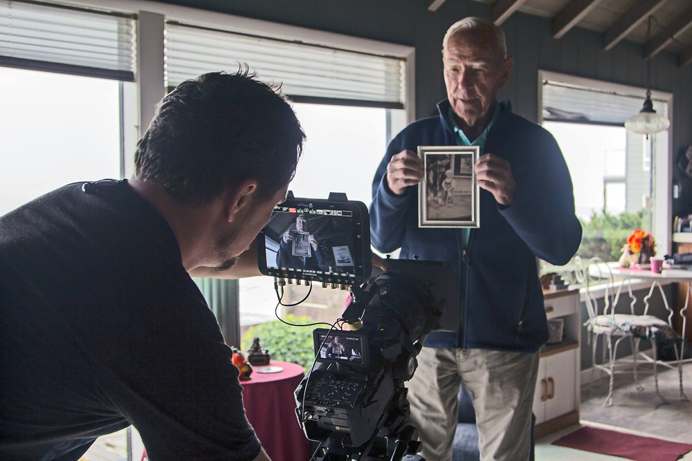 The author filming an interviewee in Oregon.