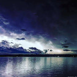 Lightening over White Lake, Michigan