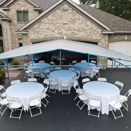 20x20 Tent Rental | Round Table Rental | Chair Rental