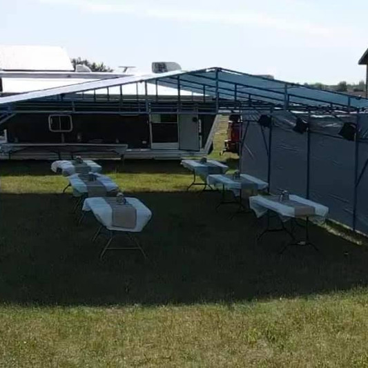 20x40 Gradutation Party Tent Rental | Table and Chair Rental | Linen Rental