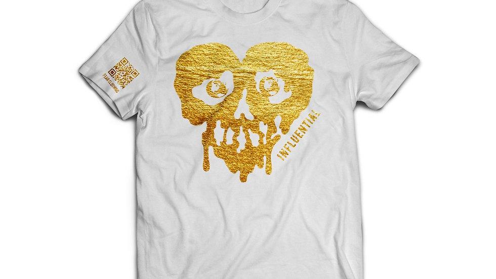 Unisex White/Metallic Gold Influential tee