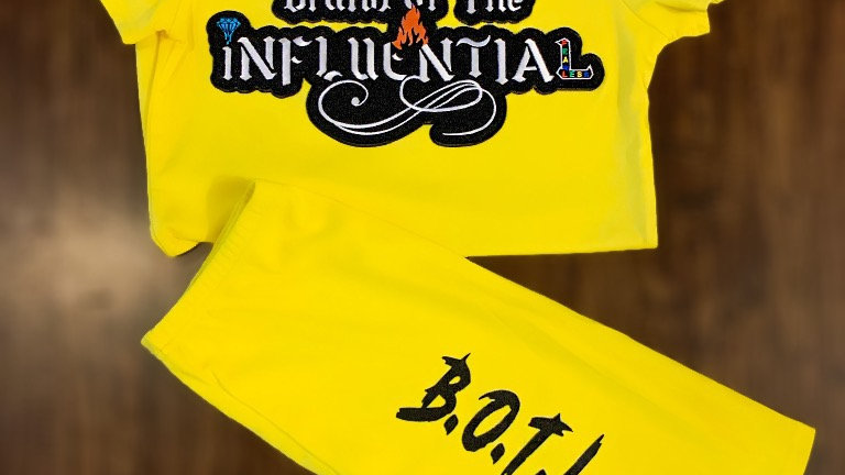 Women's Yellow Influential Embroidery Shirt/Spandex set
