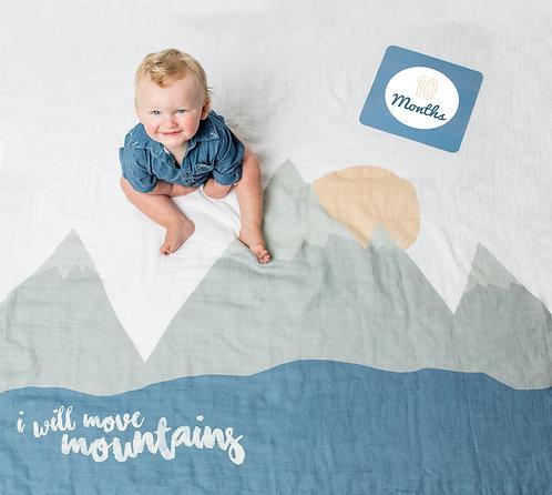 'I will Move Mountains' Milestone Swaddle Set