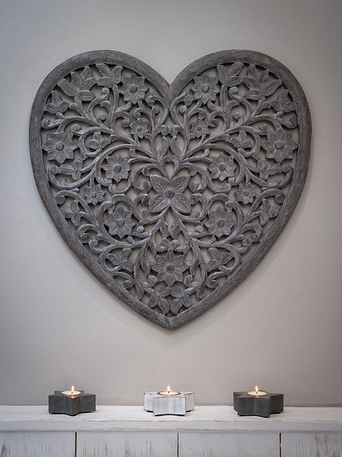 Grey Heart Hand Carved Panel