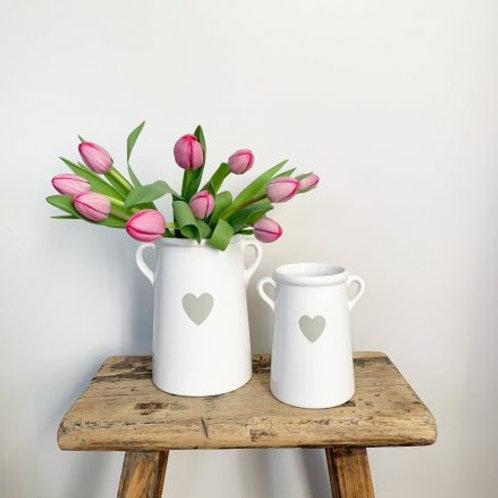 WHITE HEART POT WITH HANDLES