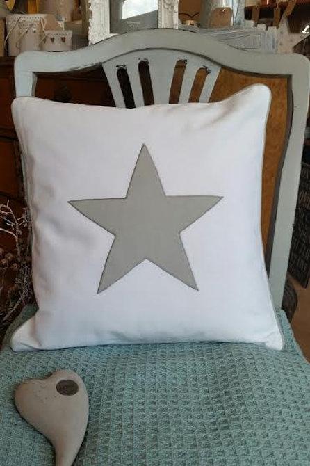 White Grey Star Cushion 40x40cm