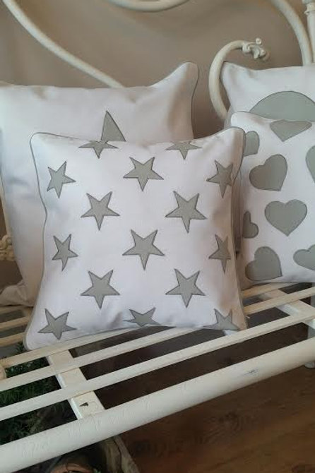 White Grey Star Cushion 30x30cm