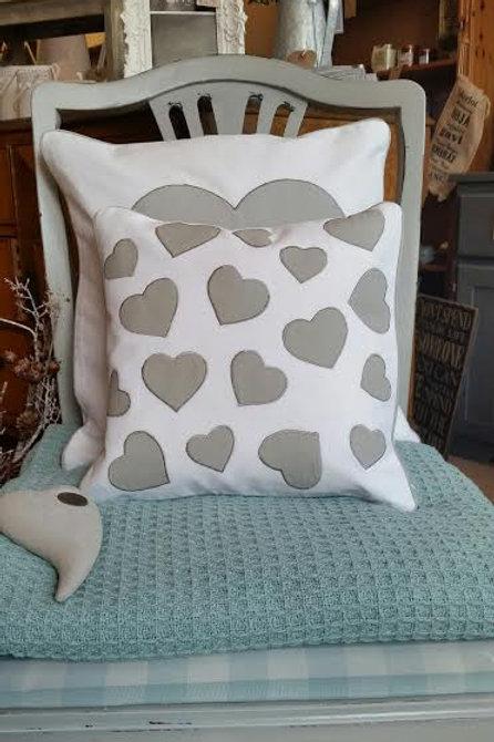 White Grey Heart Cushion 30x30cm