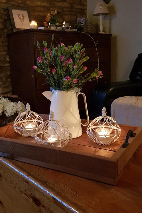 Tealight holder fil de fer antique white