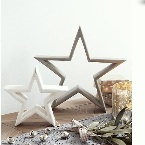 Set of Two Grey and White Mantle Stars