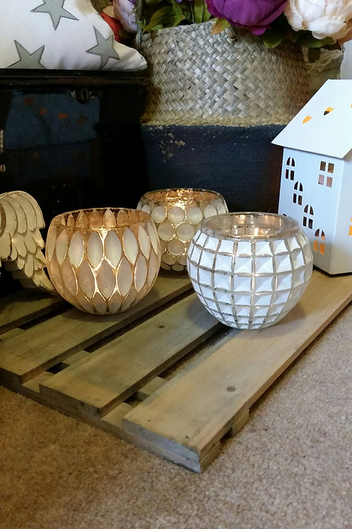 Set of 3 White Washed Glass Tealight Holders