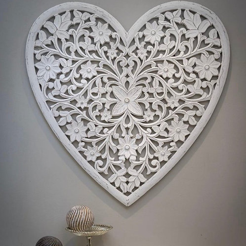 White Heart Wall Panel Hand Carved