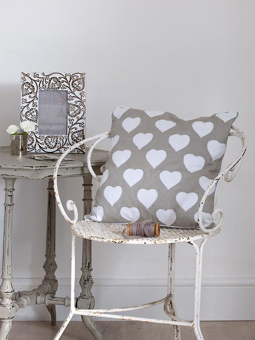 Grey and White Heart Cushion 40x40cm