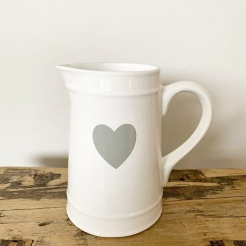 WHITE JUG WITH GREY HEART