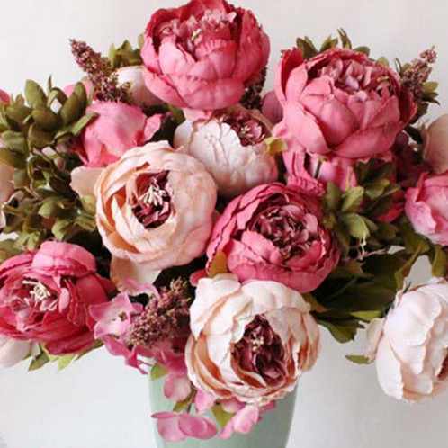 8 head artificial silk flower peony and hydrangea bouquet dark pink 8 head artificial silk flower peony and hydrangea bouquet dark pink mightylinksfo