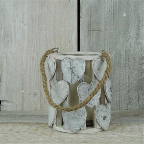 Whitewashed Birch Lantern with Heart Detail