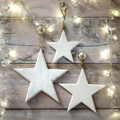 Wooden Vintage Style Stars set of 3