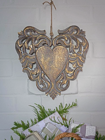 Large Gold Grey Decorative Heart