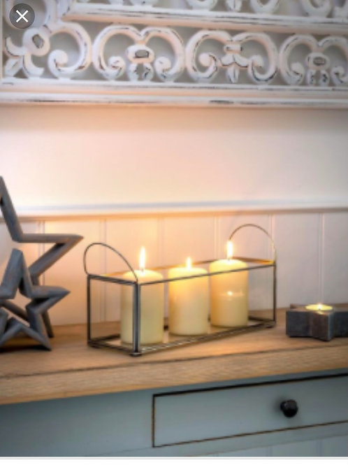 Glass Trough Candle Holder