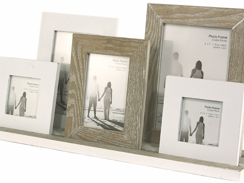 Rustic Five Photo Frames on Tray