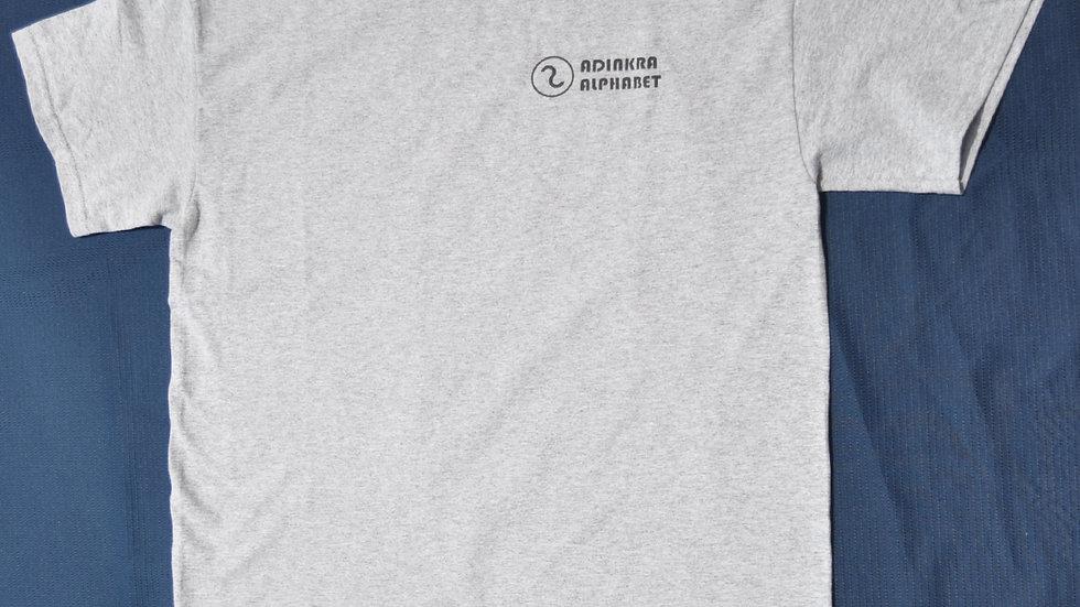 Adinkra Alphabet T Shirt Grey