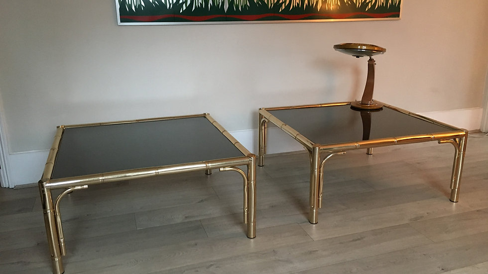 Bamboo Gold Tables, Hollywood Regency, 1970s