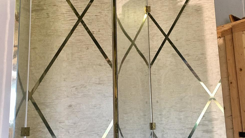 Glamorous Wood & Brass Room Divider,1970s