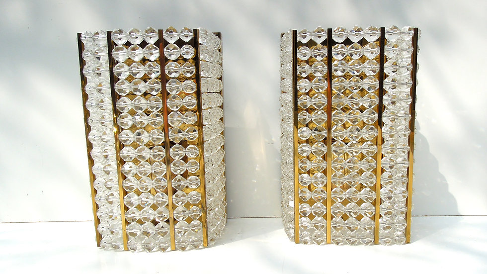 Austrian Brass & Cut Beaded Wall Lights