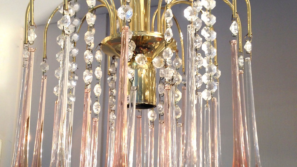 Vintage Murano style Pink Chandelier