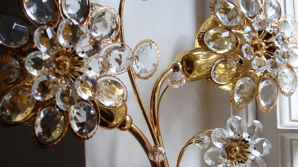 Palwa Crystal Flower Wall Lights, 1950s (2 avail)