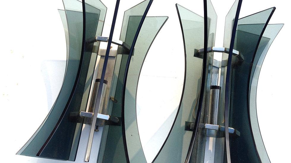 Fontana Arte desginGrey Glass Wall Lights