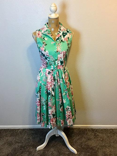 Voodoo Vixen Teal Floral Flare Dress (SMALL)
