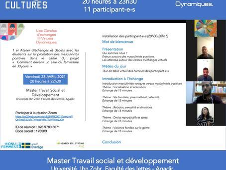 """2 ème atelier """"le cercle des débatteurs"""" – Echanges avec les étudiants de Casablanca."""