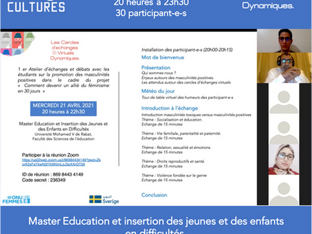 """Premier atelier """"le cercle des débatteurs"""" – Echanges avec les étudiants de Casablanca."""