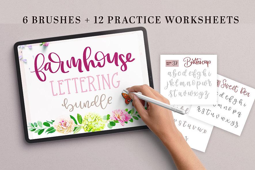 Farmhouse Modern Lettering | 5 Worksheets, 6 Procreate Lettering Brushes